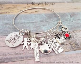 Gift for Teacher, Teacher Gift Idea, End of School Teacher Gift, Student to Teacher Gift, Personalized Gift, Custom Jewelry, Gift for Her