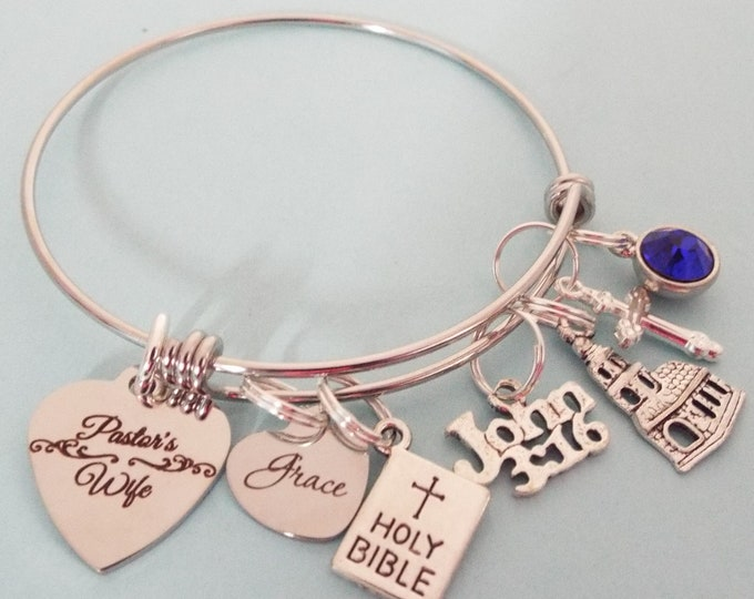 Pastors Wife Charm Bracelet, Gift for Pastor's Wife, Personalized Christian Jewelry, Personalized Gift for Women, Minister's Wife Gift