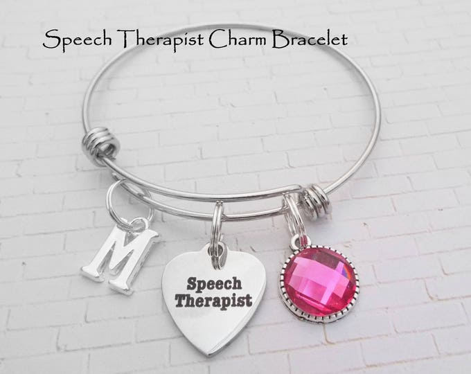 Speech Therapist Gift, Gift for a Speech Therapist, Speech Therapist Charm Bracelet, Personalized Gift, Gift for Her, Custom Jewelry