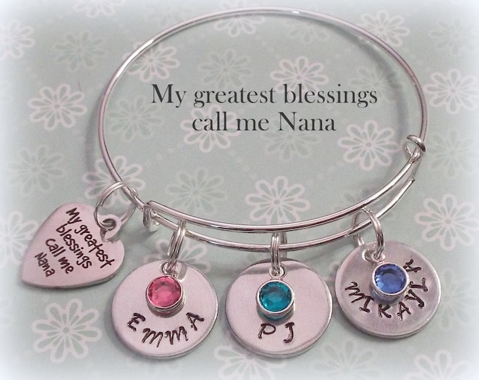 Grandmother Gift, Gift for Nana, My Greatest Blessings Call Me Nana, Personalized Handstamped Jewelry, Gift for Her, Gift for Nana,