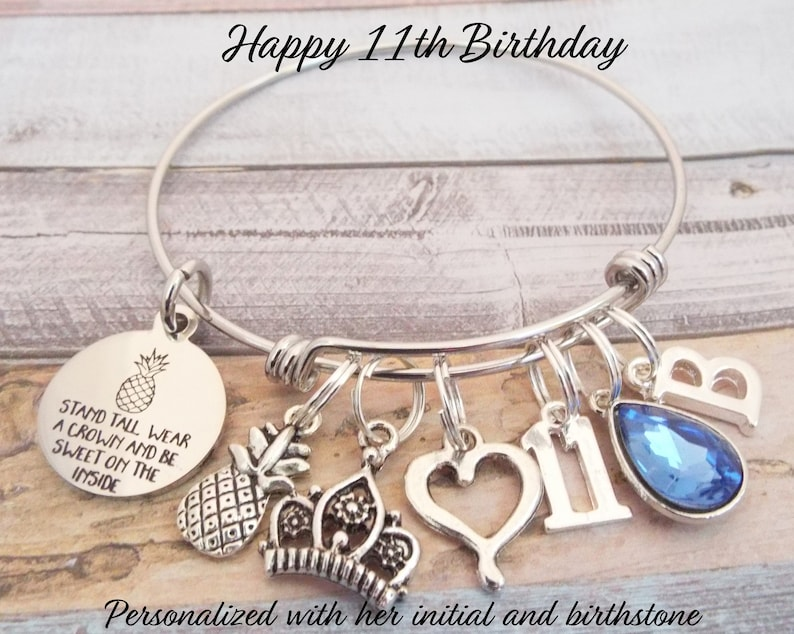 Girls 11th Birthday Charm Bracelet Personalized Gift 11