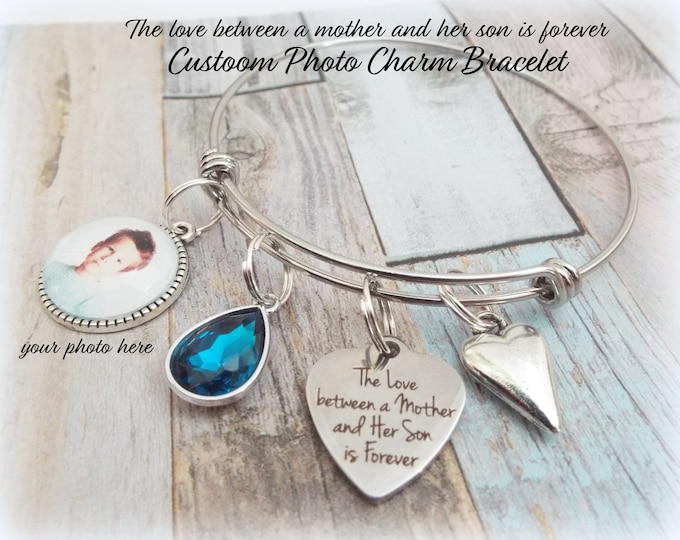 Gift for Mother, Mom from Son Gift, Mother's Day Gift, The Love Between a Mother and Son is Forever Charm Bracelet, Personalized Gift