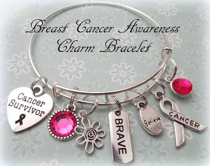 Breast Cancer Survivor Bracelet, Pink Ribbon Jewelry, Breast Cancer Awareness Month, Women's Jewelry, Gift for Her, Gift for Cancer Survivor