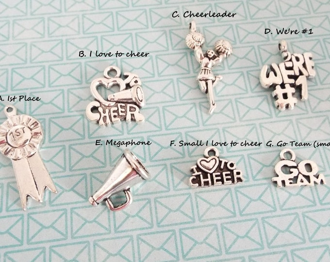 Cheerleader Charm Bracelet, Add on for Cheerleader, Sports Charms, Girl Sports Gift, Add On Charm, Gift for Her, Personalized Gift