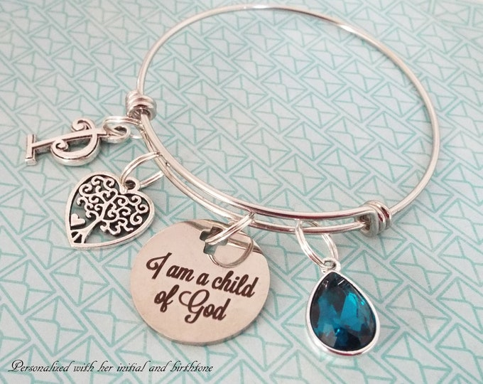 Christian Jewelry Gift, Personalized Faith Charm Bracelet, Bible Verse, Gift for Her, Christian Woman Birthstone Gift, Birthday for Her