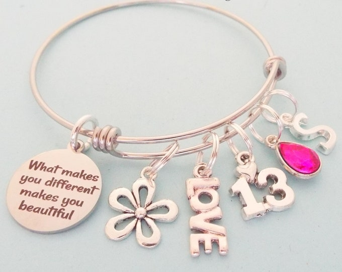Birthday Gift 13 Year Old Girl, Teenage Girl Birthday, Personalized Gift, Customized Jewelry, Charm Bracelet for Her, Birthstone Jewelry