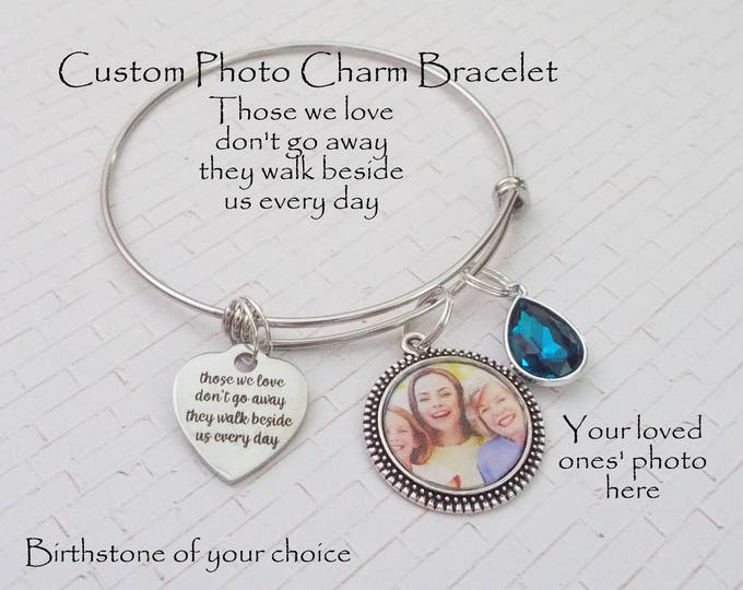 Memorial Jewelry, Custom Photo Memorial Bracelet, In Memory of Loved One, Grief and Sympathy Gift, Custom Memorial Charm Bracelet