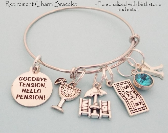 Retirement Gift for Her, Personalized Jewelry, Retiree Gift, Women Retiring Charm Bracelet, Employee Retirement, Teacher, Nurse, Retire