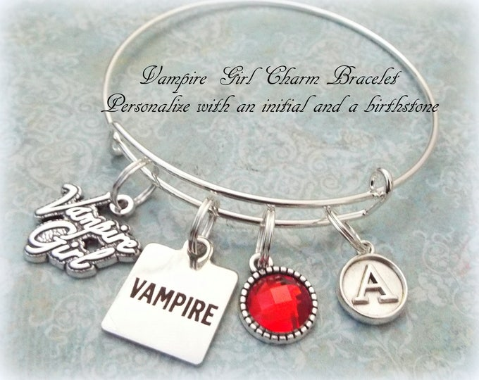 Vampire Lover Gift, Halloween Jewelry,  Goth Jewelry, Personalized Girl's Gift, Initial Jewelry, Birthstone Jewelry, Gift for Her