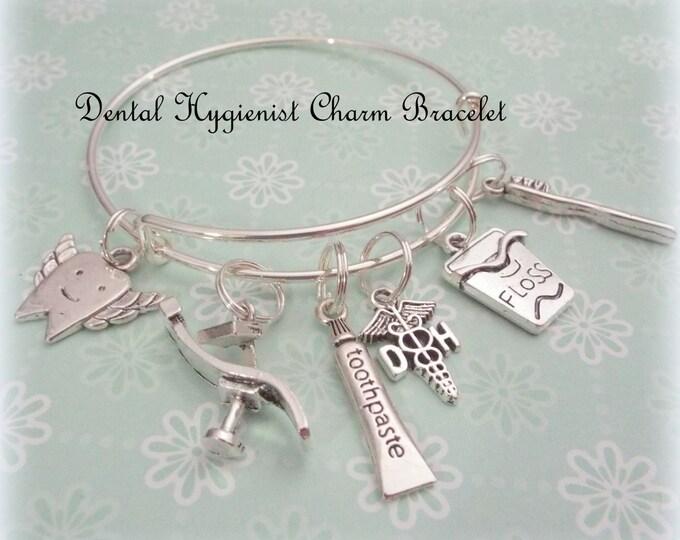 Dental Hygienist Gift, Graduation Gift for Dental Student, Women Jewelry Gift, Dental Student Gift, Tooth Fairy Charm Bracelet, Gift for Her