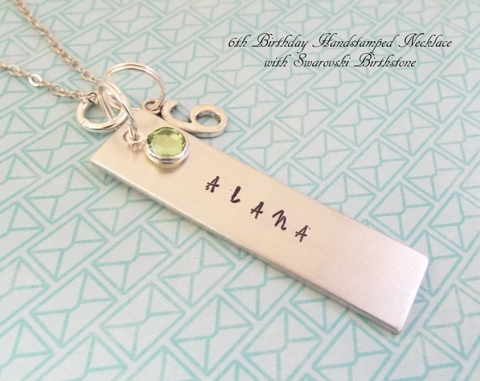 6th Birthday Girl Gift, Name Necklace for 6 Year Old, Personalized Necklace, Children's Jewelry, Gift for Her, Girl's Birthday, Name Bar
