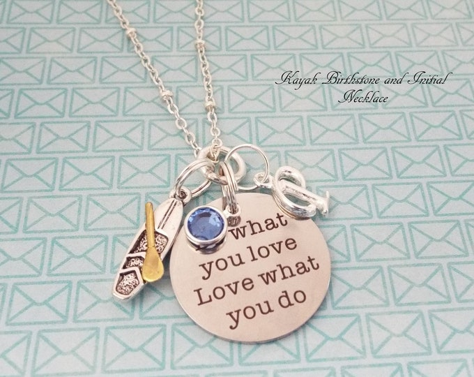 Personalized Sports Jewelry, Kayak Necklace, Women's Sports, Girl's Sports, Birthstone Initial Necklace, Gift for Her, Birthday Girl