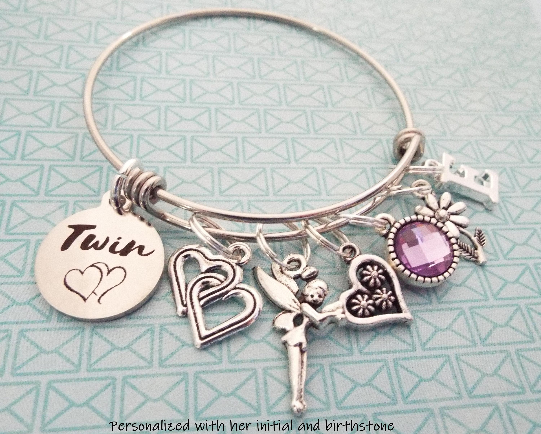 Gift For Twin Girl Twins Birthday Charm Bracelet Personalized Her Custom Jewelry