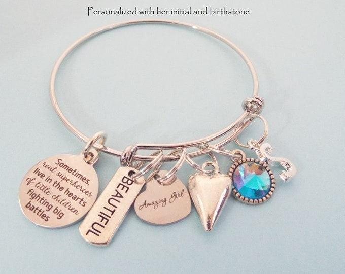 Personalized Girl Charm Bracelet, Customized Gift, Birthstone Jewelry, Initial Bracelet, Encouragement Gift for Her, Birthday for Her