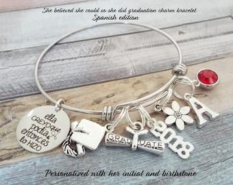 Hispanic Graduation Gift, Hispanic Jewelry, Latino Graduation Gift, Spanish Graduation Charm Bracelet, Latino Jewelry, Latino Jewelry
