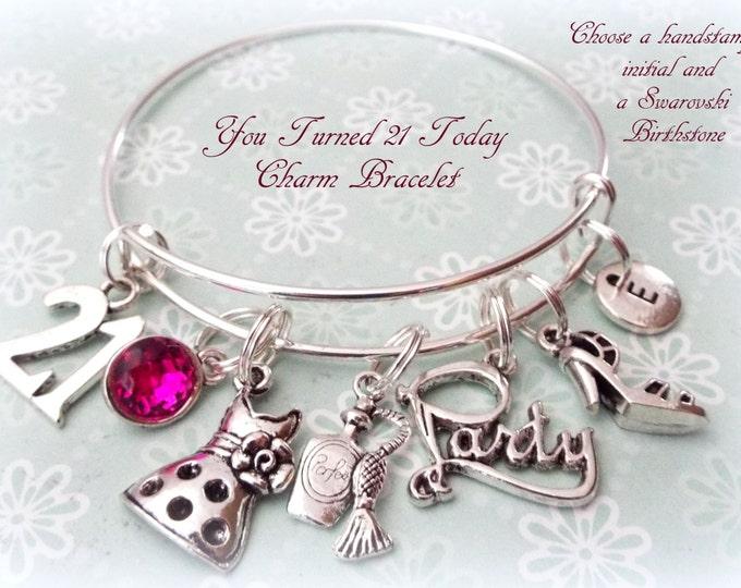 21st Birthday Gift, 21st Birthday Charm Bracelet, Gift Idea for Her, Turning 21 Gift, Gift Ideas for 21st Birthday, Birthday Gift for Friend