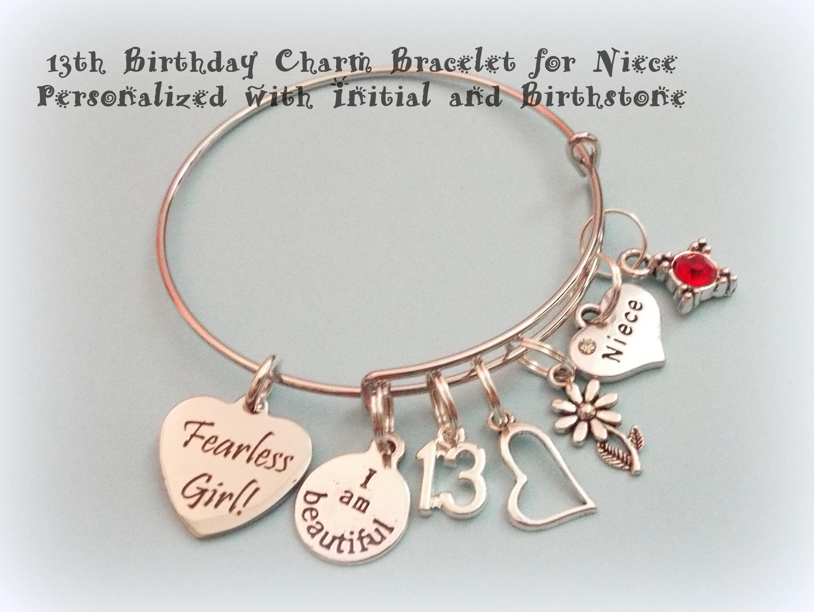 Niece Charm Bracelet Gift For Aunt To Personalized Inspirational Fearless Girl Jewelry