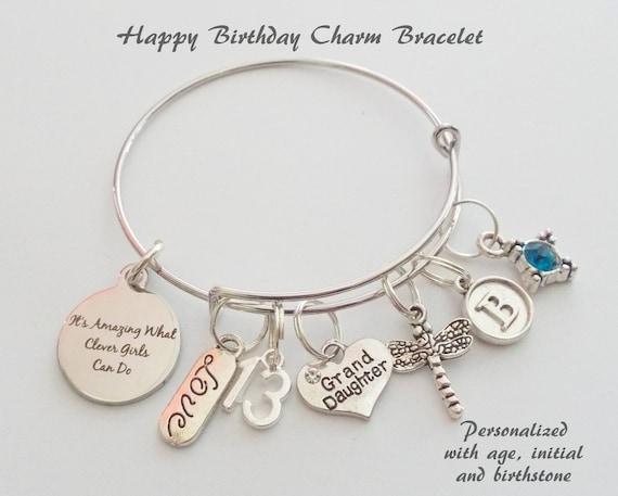 Happy Birthday Bedelarmband Voor Kleindochter Gift Van De Etsy