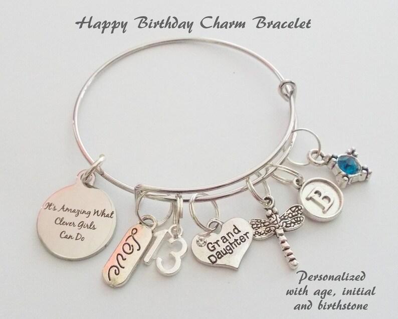 Happy Birthday Charm Bracelet For Granddaughter Gift