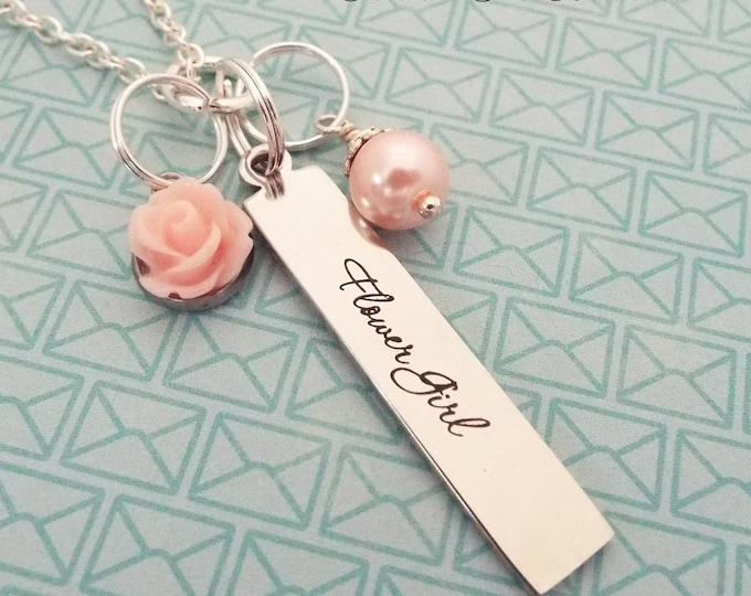 Flower Girl Gift, Custom Necklace for Flower Girl, Wedding Gift, Bridesmaid, Maid of Honor, Bridal Gift, Gift for Her, Personalized Gift