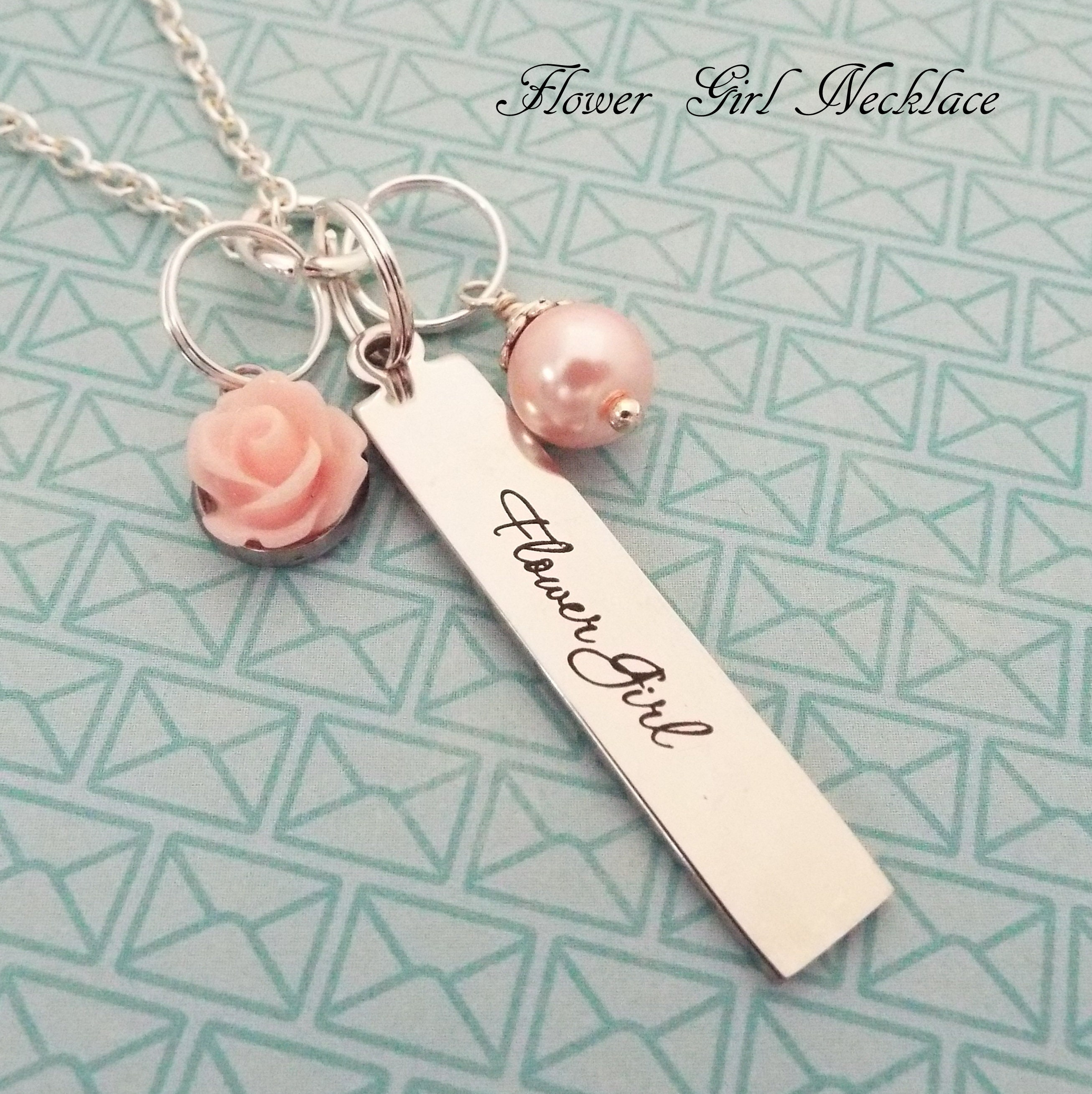 Flower Girl Gift Custom Necklace For Flower Girl Wedding Gift