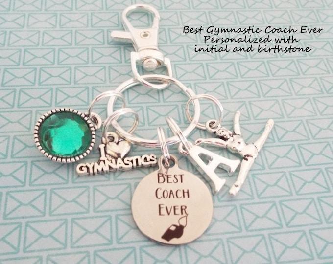 Gymnastics Coach Custom Keychain, Gymnast Coach Gift, Personalized Gift, Gift for Gymnast, Gift for Her, Silver Keychain, Birthstone Gift