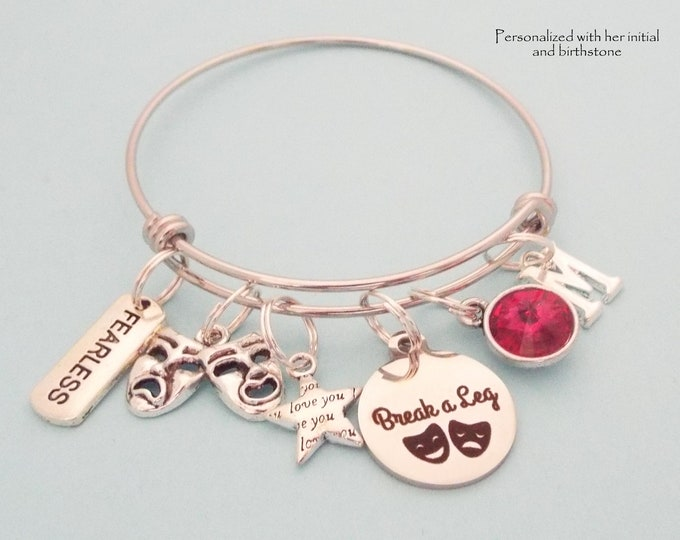 Actress Actor Charm Bracelet, Gift for Girl Woman in Play, Recital Gift, Personalized Gift for Artist, Birthstone Jewelry, Initial Bracelet