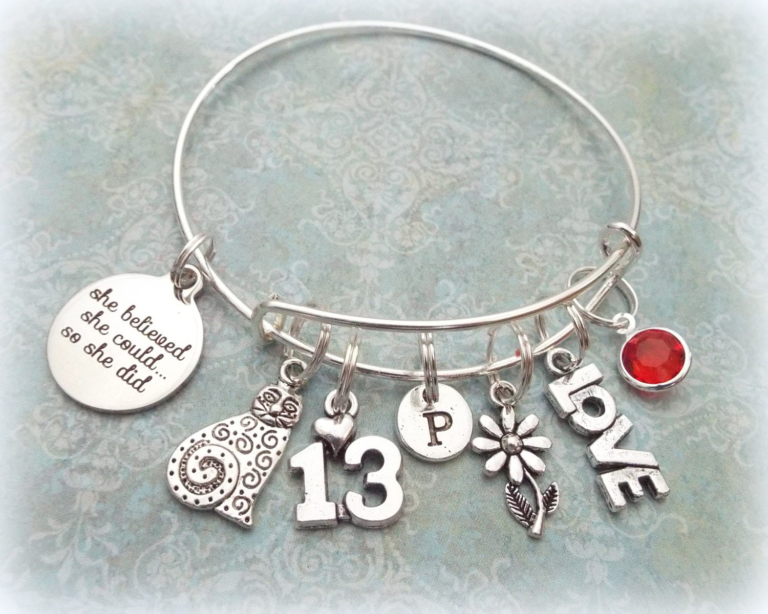 13th Birthday Charm Bracelet Gift For 13 Year Old Daughter Cat Personalized Jewelry