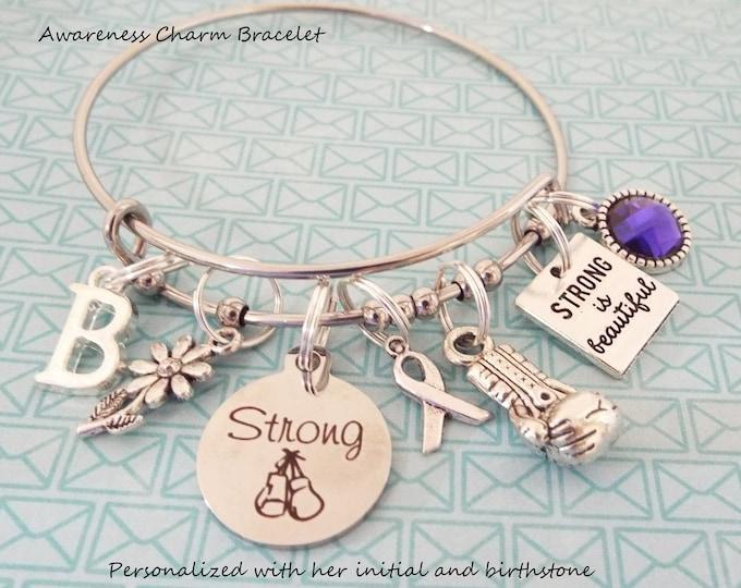 Awareness Bracelet, Ribbon Awareness Charm Bracelet, Cancer Awareness, Encouragement Jewelry, Cancer Ribbon Jewelry, Gift for Her, Jewelry