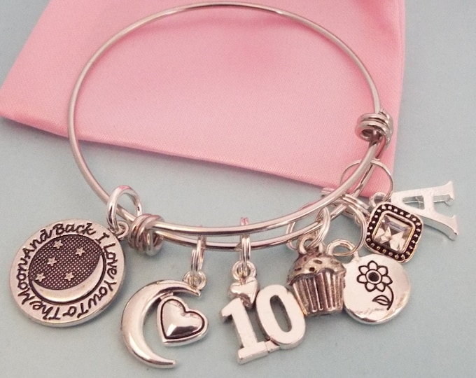 10th Birthday Gift for Girl, Personalized Charm Bracelet for Girl Turning 10 with Birthstone and Initial, Children's Jewelry