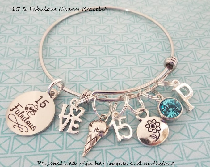 15th Birthday for Girls, 15th Birthday Charm Bracelet, Gift for Girls 15th Birthday, Personalized Jewelry, Gift for Her, Teenage Girl Gift