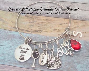 50th Birthday Gift, Fiftieth Birthday, Personalized Gift, Birthday Jewelry, Gift for Woman Turning 50, Gift for Her, Woman Gift