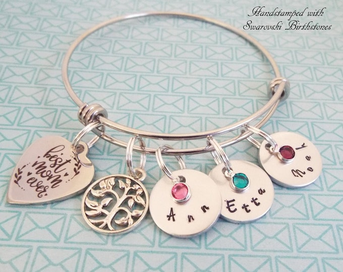 Mother's Day Gift, Tree of Life Charm Bracelet, Mom Gift, Birthstone Jewelry, Personalized Gift, Custom Jewelry, Gift for Her, Women's Gift