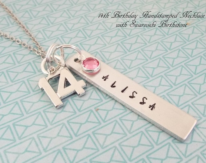 14th Birthday Gift for Girl, Name Necklace 14 Year Old Girl Birthday, Personalized Gift for Teenage Girl, Teenager Jewelry, Gift for Her