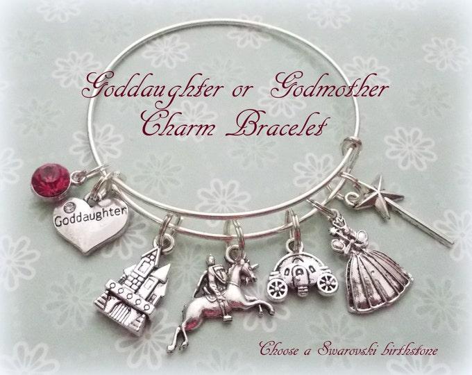 Goddaughter Gift, Gift for Goddaughter, Princess Charm Bracelet, Godmother to Goddaughter Bracelet, Gift for Her, Birthday Goddaughter