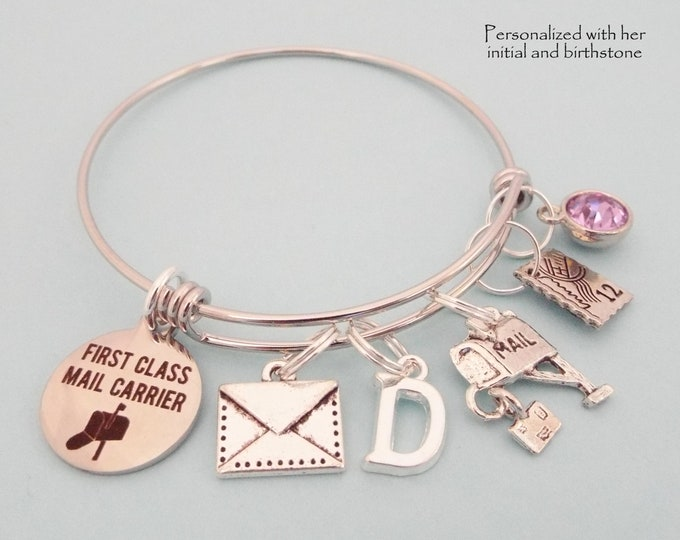 Gift for Postal Worker, Gift for Mail Carrier, Postal Worker Charm Bracelet, Birthstone Jewelry, Gifts for Her, Initial Bracelet, Thank You