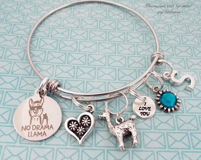 Girl's Birthday Gift, Personalized Llama Jewelry, Gift for Her, Daughter Gift, Teenage Girl Gift, Teenager Birthstone, Initial Bracelet