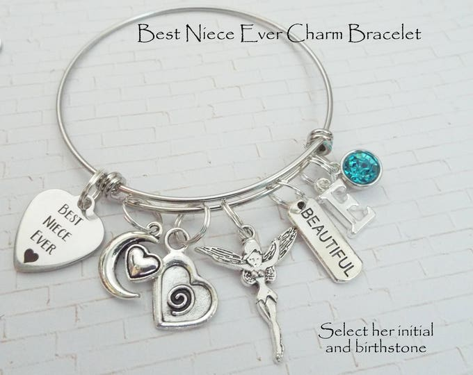 Gift for Niece, Niece Christmas Gift, Niece Gift, Personalized Gift for Niece, Aunt to Niece Gift, Best Niece Ever Charm Bracelet, Girl Gift