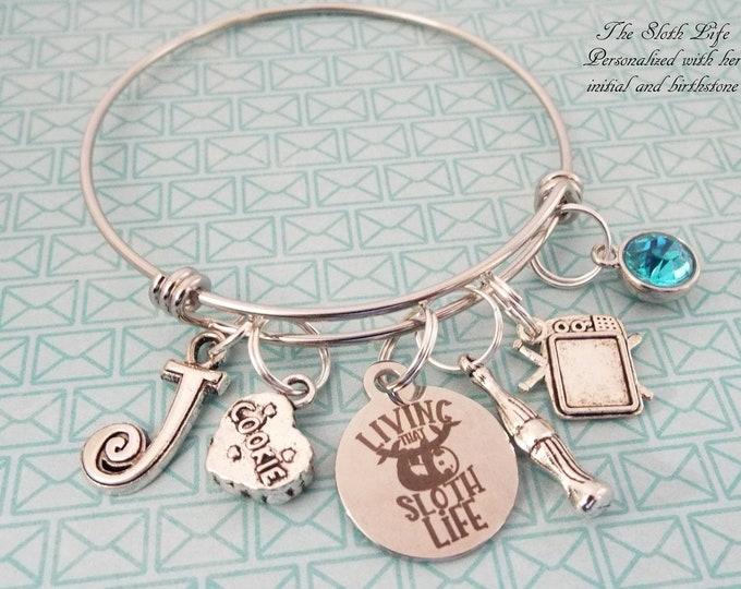 Sloth Jewelry, Personalized Gift, Charm Bracelet, Gift for Her, Teenage Girl Birthday Gift, Teenager Birthday, Custom Jewelry, Girl Gift