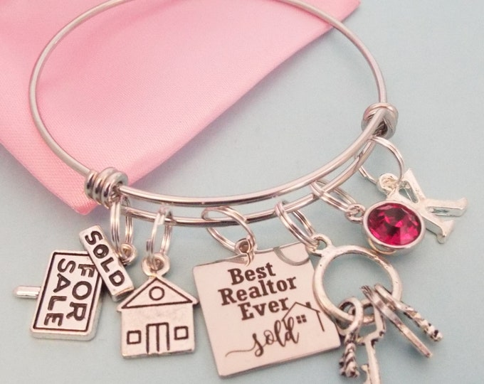 Real Estate Agent Gift, Thank You Gift for Agent, Charm Bracelet, Graduation Gift, Personalized Gift, Gift for Her, Initial Bracelet