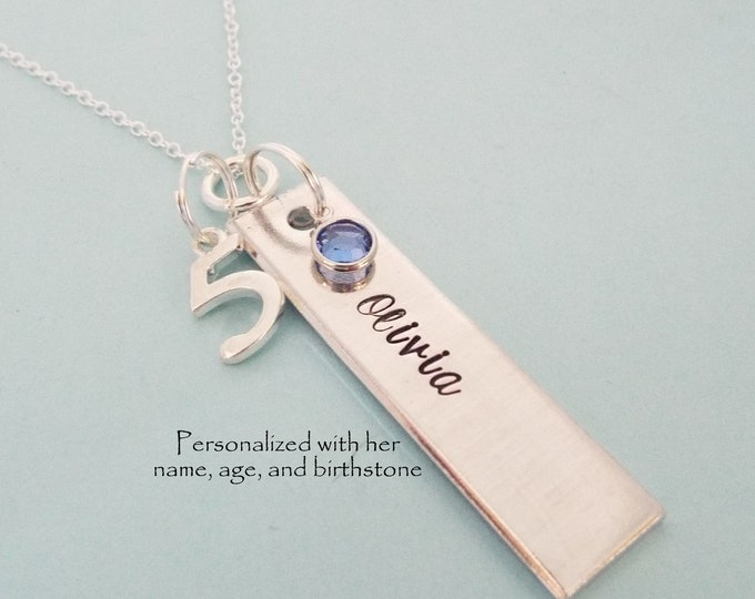 Girl 5th Birthday Gift, 5 Year Old Girl Name Bar Necklace, Birthstone Jewelry, Silver Necklace, Personalized for Her, Custom Jewelry