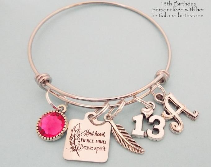13 Birthday Girl, Girl's 13th Birthday Gift, Girl Turning 13, Personalized Gift, Birthstone Jewelry. Initial Bracelet, Daughter Birthday