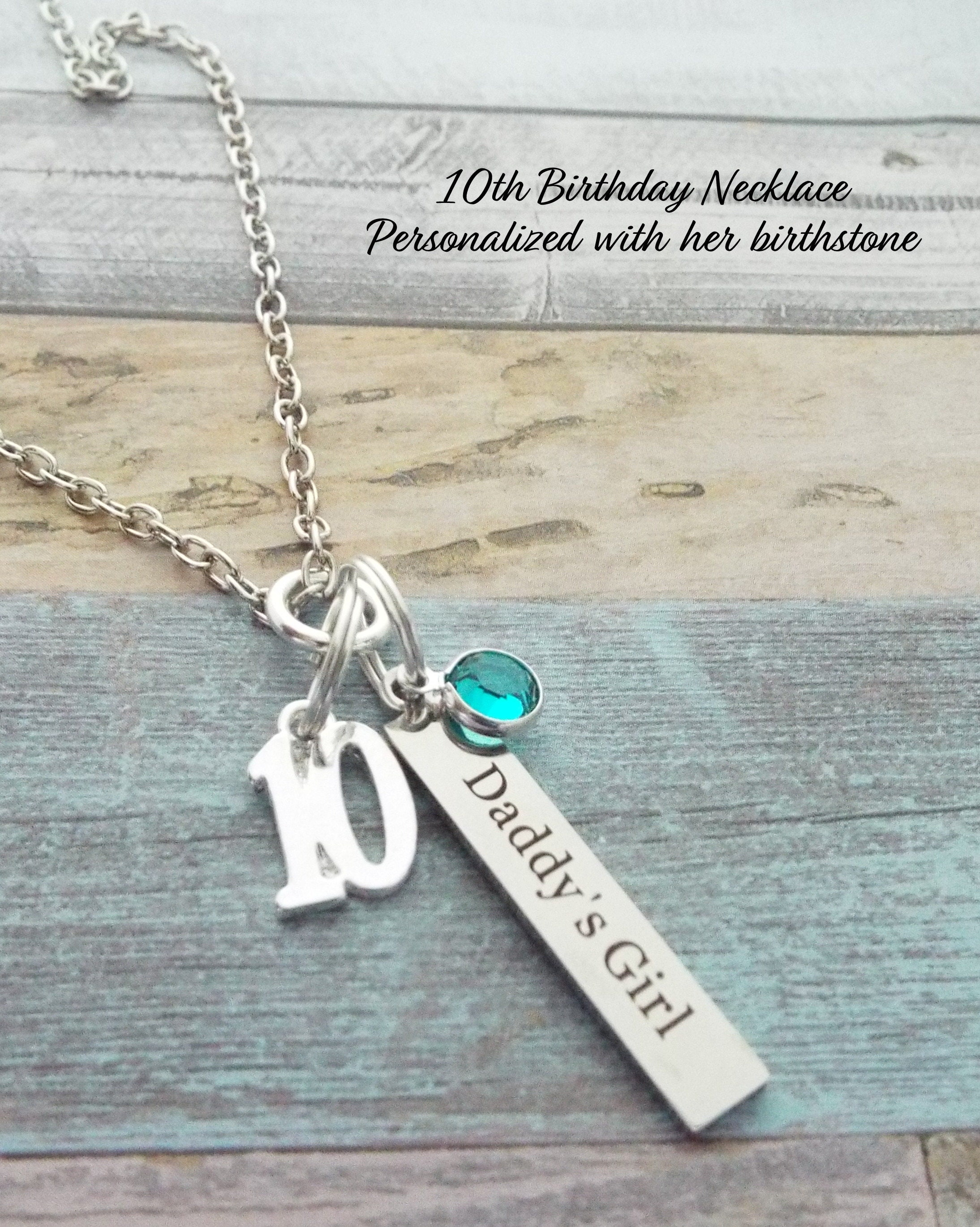 10th Birthday Gift For Daughter Father To 10 Year Old Girl Dad Birthstone Jewelry
