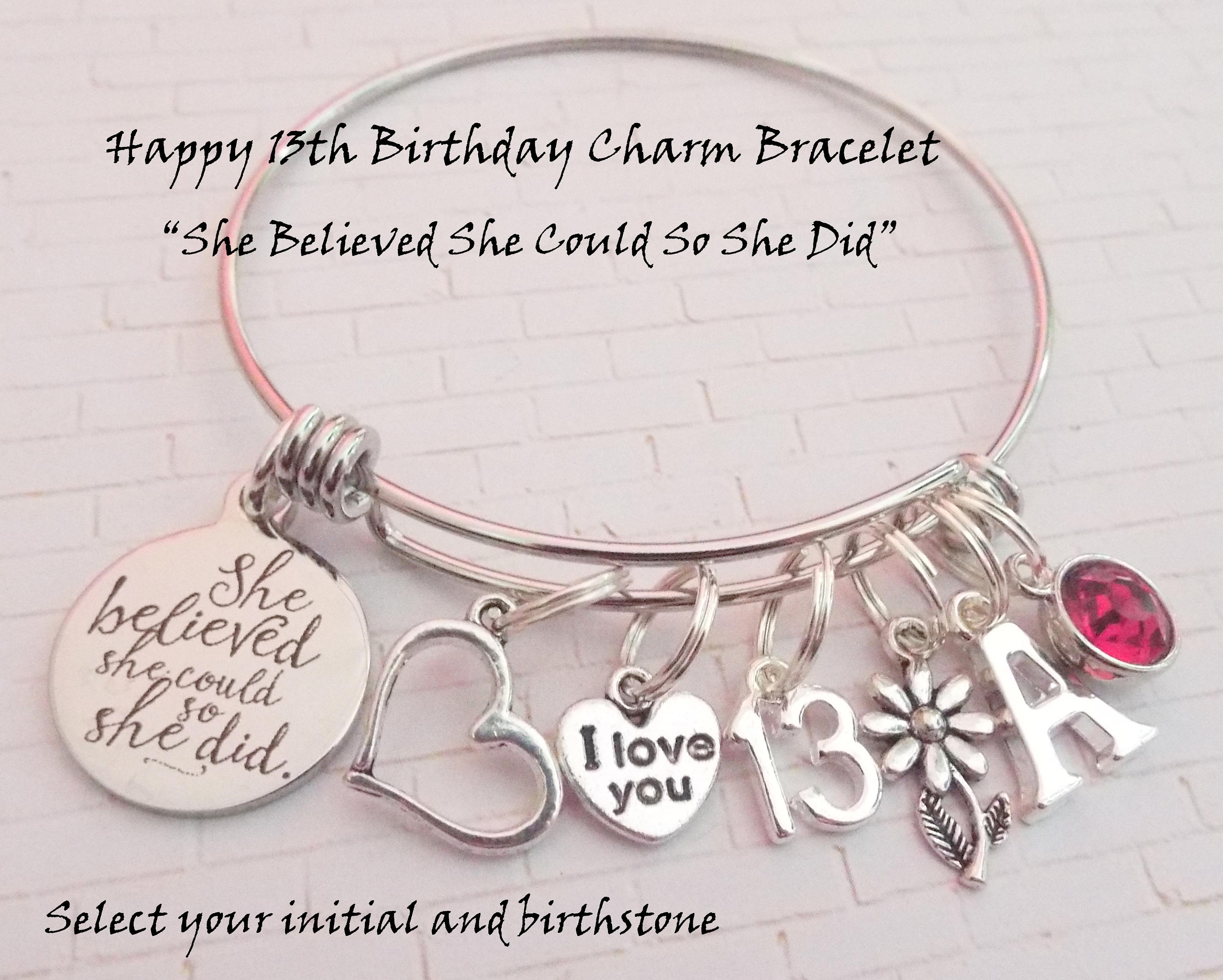 13th Birthday Girl Gift For 13 Year Old Daughter Turning Custom Jewelry