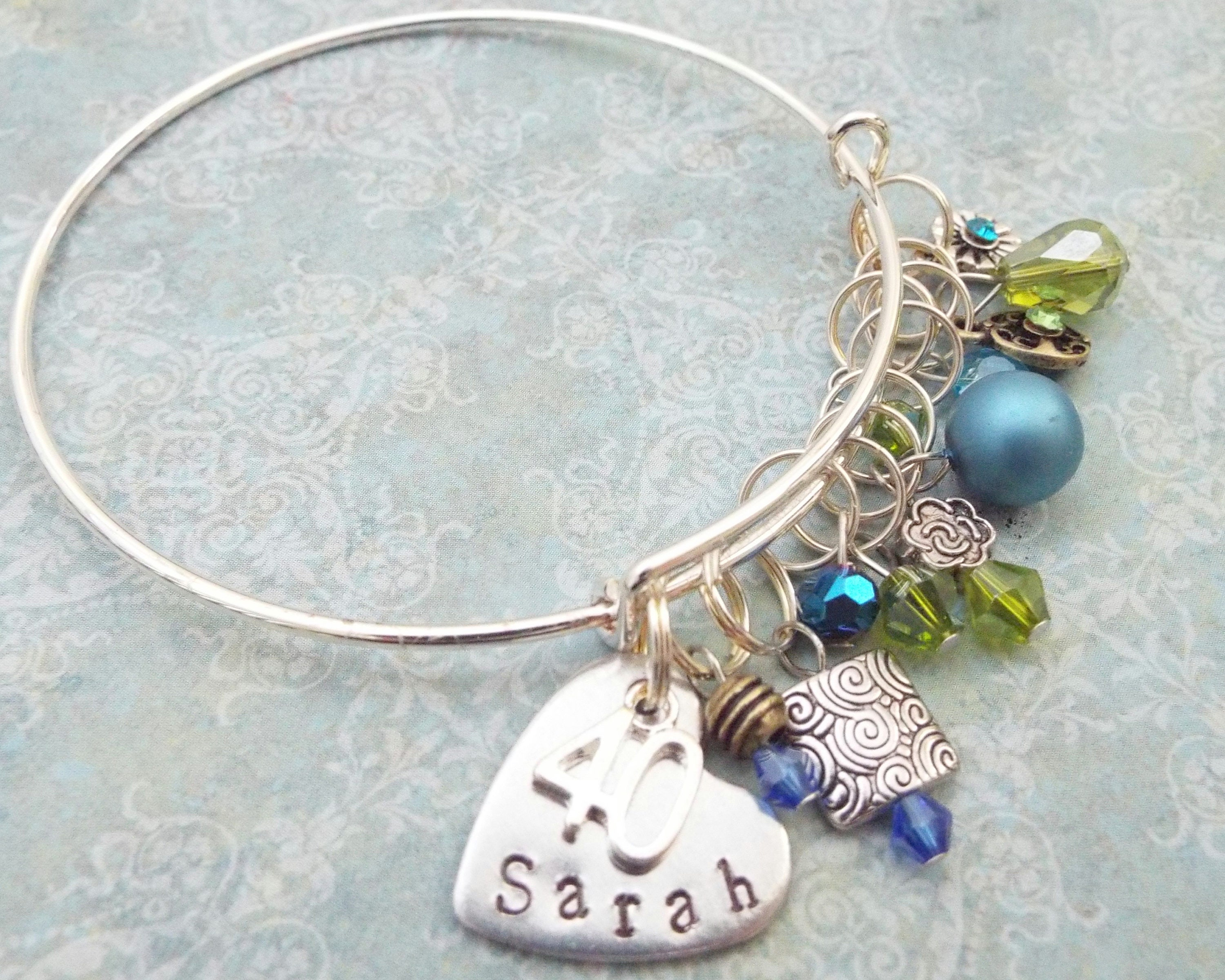 40th Birthday Gift Charm Bracelet Handstamped Personalized For Best Friend