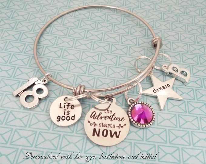 Girl 18th Birthday Charm Bracelet, Personalized Gift, Gift, Girl Turning 18 Bracelet, Teenage Girl Gift, Teenager Jewelry, Gift for Her