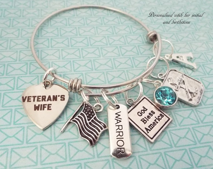 Veteran's Wife Gift, Veteran's Wife Charm Bracelet, Gift for Veteran;s Wife, Personalized Gift, Personalized Jewelry.  Soldier's Wife Gift