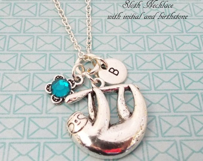 Sloth Necklace, Personalized Gift, Animal Birthstone Necklace, Initial Jewelry, Gift for Her, Girl's Jewelry, Teenage Girl Gift, Teenager