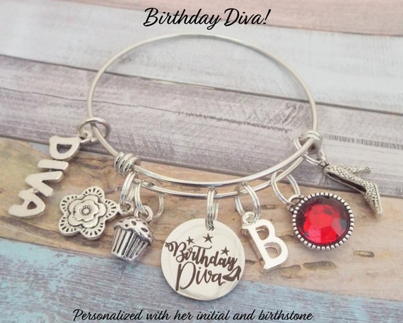 Birthday Diva Charm Bracelet Personalized Birthday Gift for  5a4239eca