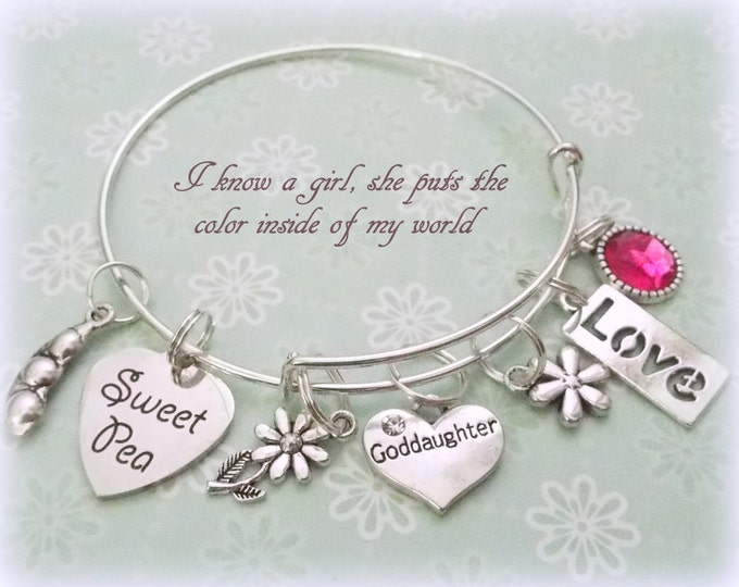 Goddaughter Charm Bracelet, Gift for Goddaughter, Godmother to Goddaughter Gift, Silver Bracelet for Goddaughter, Goddaughter Gift